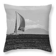 2017 Heineken Regatta Sailing Past Saba Saint Martin Sint Maarten Red Sail Black And White Throw Pillow