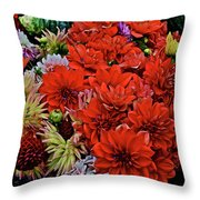 2017 Mid October Monona Farmers' Market Buckets Of Blossoms 1 Throw Pillow