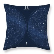 2017 Pi Day Star Chart Azimuthal Projection Throw Pillow