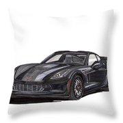 2017 Triple Black Corvette Throw Pillow
