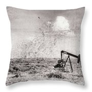 2017_06_lamesa Tx_pump Jack Windmill 3 Textured And Aged Throw Pillow