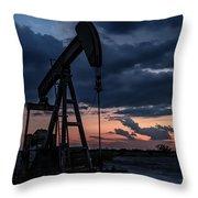 2017_08_midkiff Tx_sunset Pump Jack 7 Throw Pillow