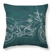 2018 Honda Cb300f Abs Blueprint Green Background Throw Pillow