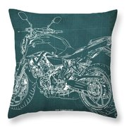 2018 Yamaha Mt07 Blueprint Green Background Fathers Day Gift Throw Pillow