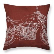 2018 Yamaha Mt07 Blueprint  Red Background Fathers Day Gift Throw Pillow