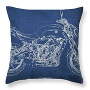 2018 Yamaha Mt07,blueprint,blue Background,fathers Day Gift Throw Pillow