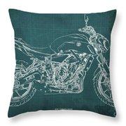 2018 Yamaha Mt07,blueprint,green Background,fathers Day Gift,2018 Throw Pillow