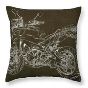 2018 Yamaha Tracer 900gt Blueprint Brown Background Two Wheels Move The Soul Throw Pillow