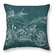2018 Yamaha Tracer 900gt Blueprint Green Background Throw Pillow