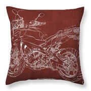 2018 Yamaha Tracer 900gt Blueprint Red Background Gift For Dad Throw Pillow