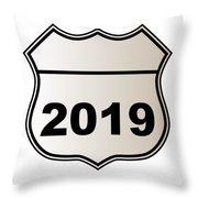 2019 Highway Sign Throw Pillow
