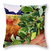 #203 Blue Oak Leaves 2 Throw Pillow