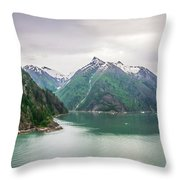 Glacier And Mountains Landscapes In Wild And Beautiful Alaska Throw Pillow