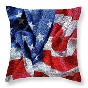 American Flag 40 Throw Pillow