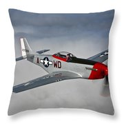 A P-51d Mustang In Flight Throw Pillow