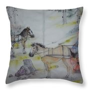 Here Come The Equines Album  Throw Pillow