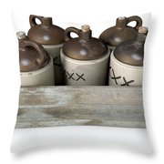 Moonshine In Wooden Crate Throw Pillow
