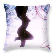 Neemah African American Nude Girl Photograph In Sexy Sensual Col Throw Pillow
