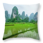 The Beautiful Karst Rural Scenery In Spring Throw Pillow