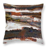 22. V2 Rustic Brown, Red And White Glaze Painting Throw Pillow