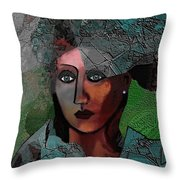 239 - Young Woman In Green Dress 2017 Throw Pillow