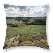 Beautiful Vibrant Landscape Image Of Burbage Edge And Rocks In S Throw Pillow