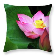 Blossoming Lotus Flower Closeup Throw Pillow