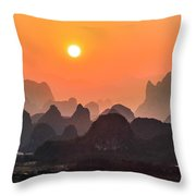 Karst Mountains Scenery In Sunset Throw Pillow