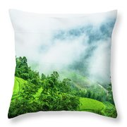 Mountain Scenery In Mist Throw Pillow