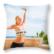 Beautiful Woman Practicing Yoga Throw Pillow