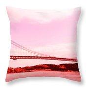 25 De Abril Bridge In Crimson Throw Pillow