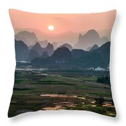 Karst Mountains Scenery In Sunset Throw Pillow
