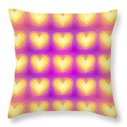 25 Little Yellow Love Hearts Throw Pillow