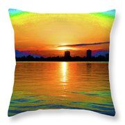 25- Psychedelic Sunrise Throw Pillow