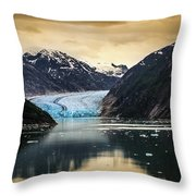 Sawyer Glacier At Tracy Arm Fjord In Alaska Panhandle Throw Pillow