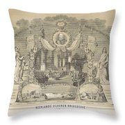 25-year Reign Of William IIi King Of The Netherlands, In 1874, Anonymous, After Hendrik Jan Van Lumm Throw Pillow