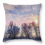 Frozen Water, Snow And Ice On The Dnieper River Throw Pillow