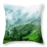 Mountain Scenery In The Mist Throw Pillow