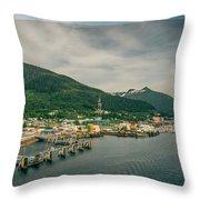 Scenery Around Alaskan Town Of Ketchikan Throw Pillow