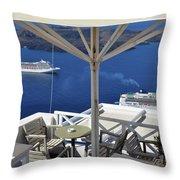 28 September 2016 Restaurant By The Aegean Sea  In Santorini, Greece  Throw Pillow