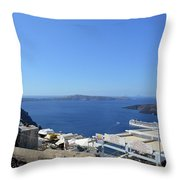 28 September 2016 White Houses By The Sea In Santorini, Greece  Throw Pillow