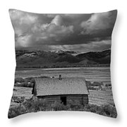 2d07515-bw Abandoned Cabin Throw Pillow
