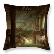 A Hermit Praying In The Ruins Of A Roman Temple Throw Pillow