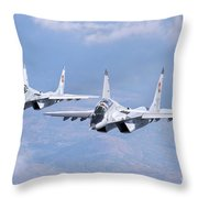 A Pair Of Bulgarian Air Force Mig-29s Throw Pillow