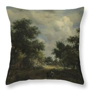 A Road Winding Past Cottages Throw Pillow