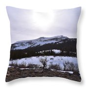 A Snowy Desert Mountain Scene Above Twin Lakes Along The Trail To Monument Ridge In The Eastern Sier Throw Pillow