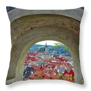 A View Of Cesky Krumlov In The Czech Republic Throw Pillow