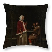 A Woman And Two Men In An Arbor Throw Pillow