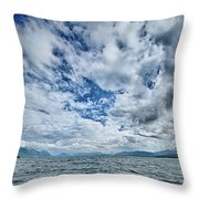 Alaska Waterscape And Mountains Near Favorite Channel And  Junea Throw Pillow