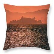 Alcatraz Island Prison San Francisco Bay At Sunset Throw Pillow